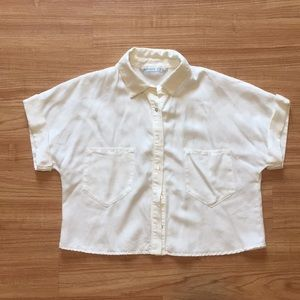 Zara cropped white button down shirt